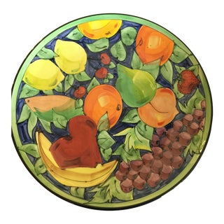 Italian Hand Painted Ceramic Platter With Fruit