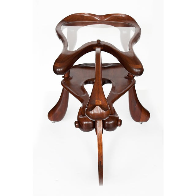 Vintage Studio Sculptural Carved Walnut Bar Cart - Image 5 of 10