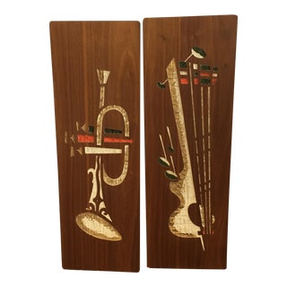 Mid-Century Wall Art Plaques - A Pair