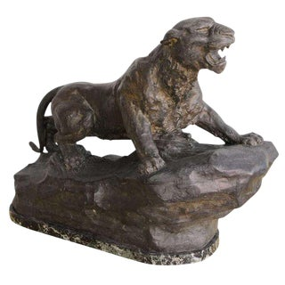 1940s French Art Deco Bronze Panther Sculpture