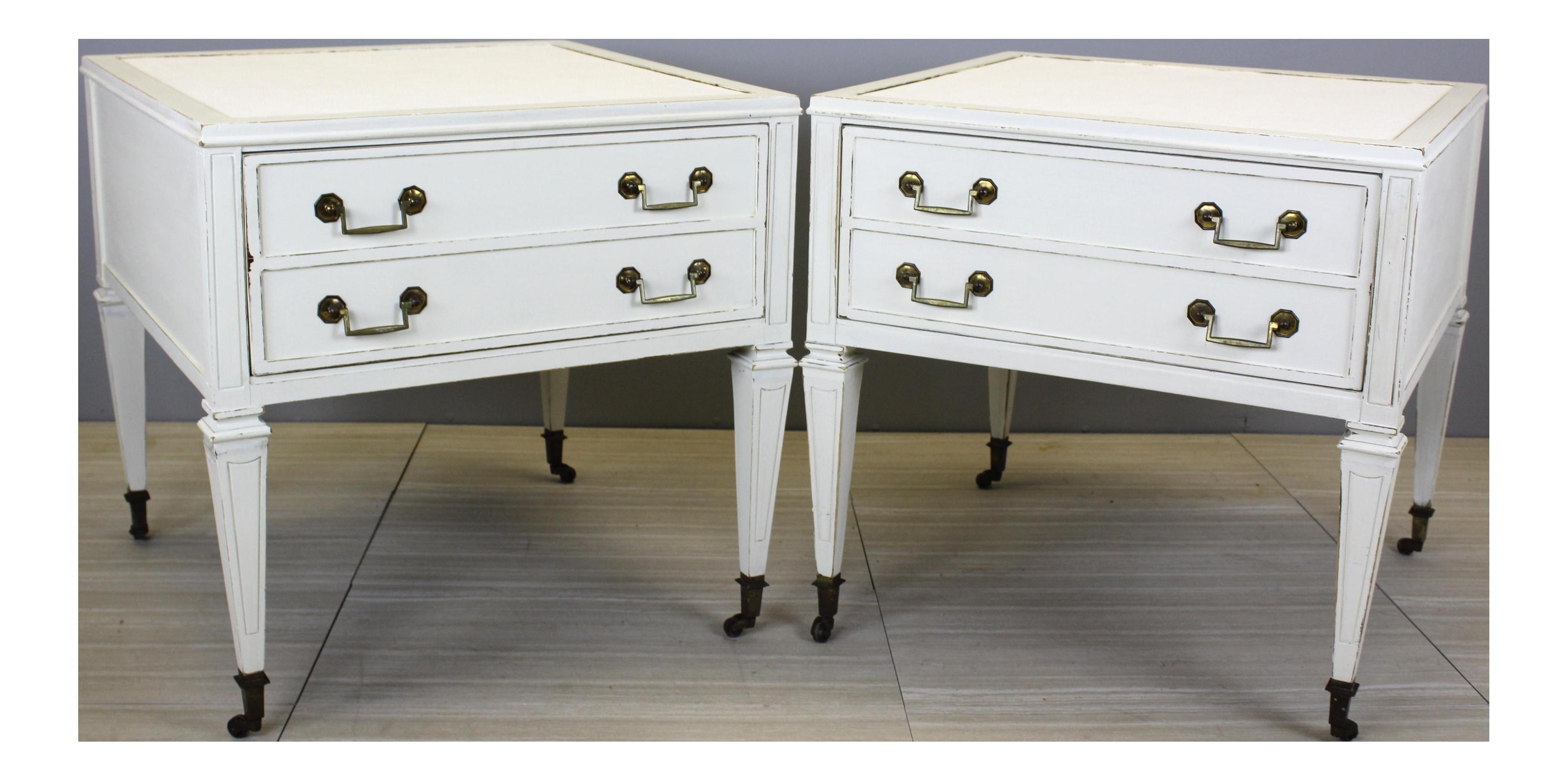 Mid Century Modern Nightstands, Pair Of Nightstands, Vintage White  Nightstands