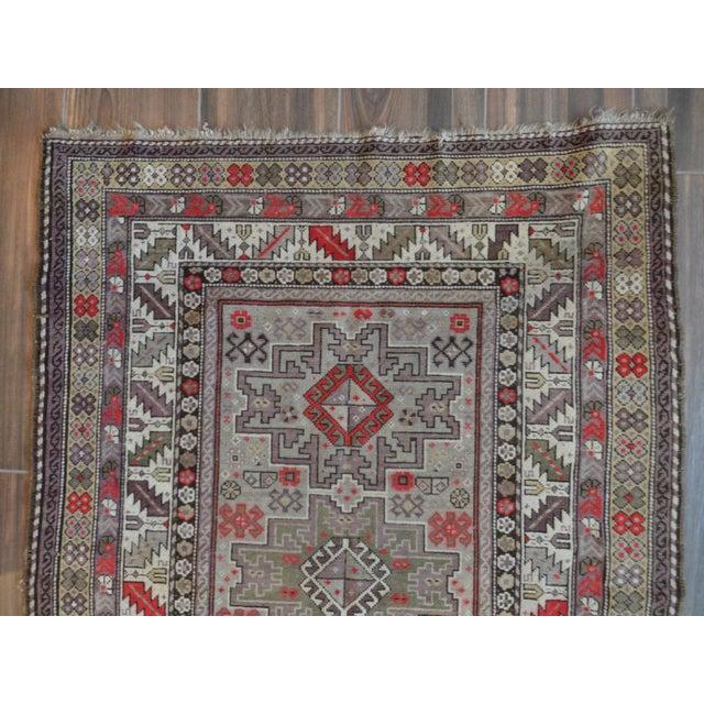Distressed Vintage Star Kazak Rug - 3′9″ × 5′ - Image 4 of 9