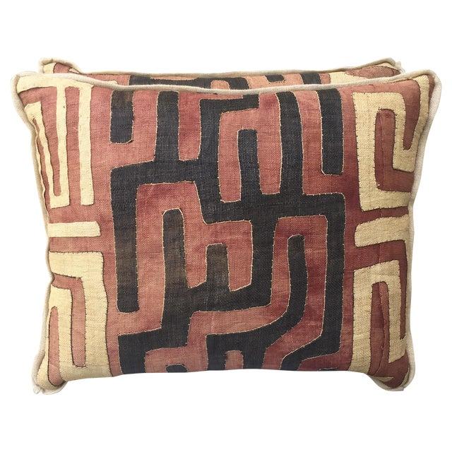 African Kuba Cloth Pillows - A Pair - Image 1 of 5