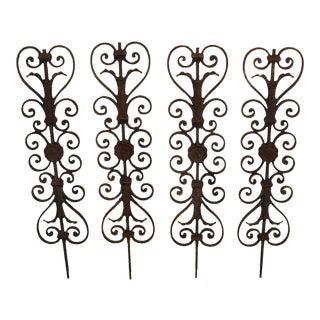 Antique Cast Iron Garden Spike Decorations- Set of 4