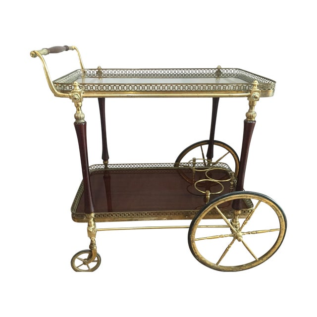 1880s French Brass Bar Cart - Image 1 of 5