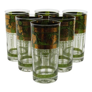 Cera Golden Grape Highball Glasses- Set of 6