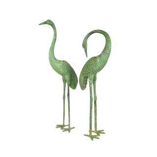 Pair Green Bronze Asian Garden Cranes
