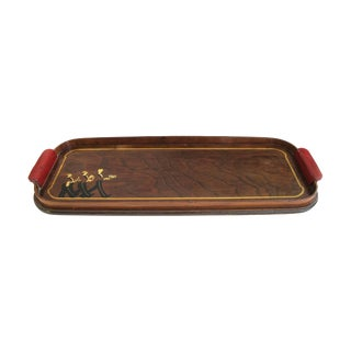 A Whimsical American Art Deco Rectangular Serving Tray with Red Bakelite Handles
