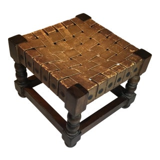 Woven Leather Top Wood Stool