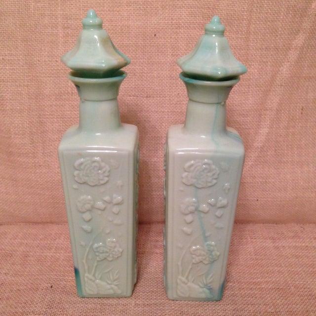 Image of Colored Milk Glass Liquor Bottles - A Pair
