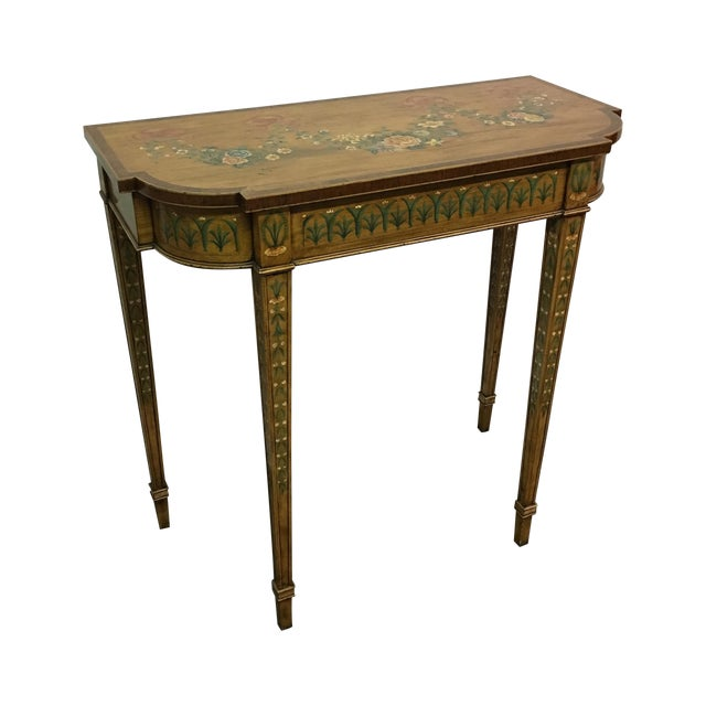 Image of Hand-Painted Floral Console Table