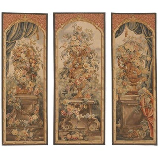 "Chinese Artisan Aubusson Style Tapestries - 2'2""x 6'3"" Set of 3"