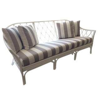 Vintage White Hollywood Regency Rattan Sofa