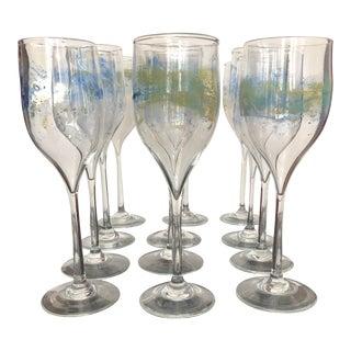Vintage Josh Simpson Wine Goblets Art Glass - Set of 12