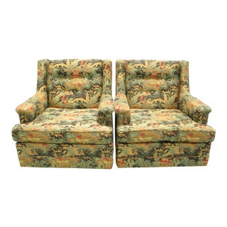 Chinoiserie Upholstered Club Chairs - A Pair