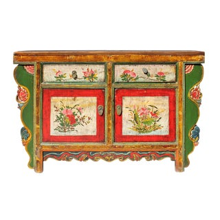 Chinese Distressed Green Red Floral Sideboard Console