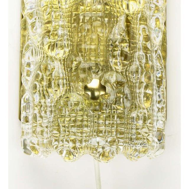 Image of Pair Carl Fagerlund For Orrefors Glass & Brass Sconces