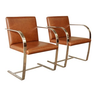 Mies Van Der Rohe Leather Brno Chairs - a Pair