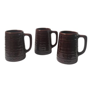 1960s Vintage Marcrest Daisy & Dot Brown Stein Mugs - Set of 3
