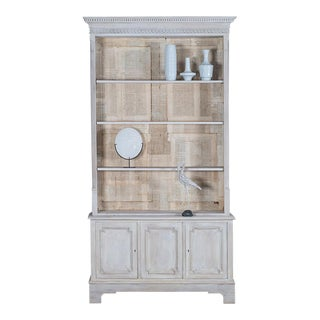 Antique Painted English Oak Bookcase Display Cabinet circa 1890