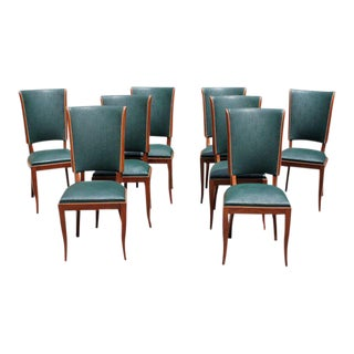 Circa 1940s French Art Deco Mahogany Dining Chairs - Set of 8