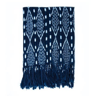Indigo & White Guatemalan Ikat Blanket