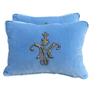 Silver Metallic Appliqued Velvet Pillows - A Pair