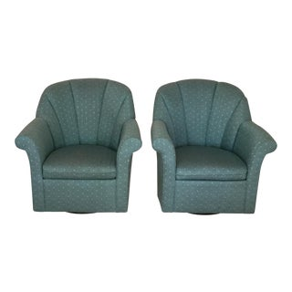 Upholstered Swivel Rocking Chairs - A Pair
