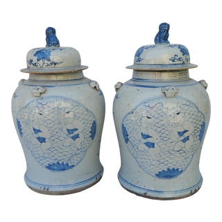 Porcelain Chinese Glazed Ginger Jars - A Pair