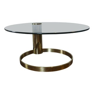 Pace Style Brass & Glass Coffee Table