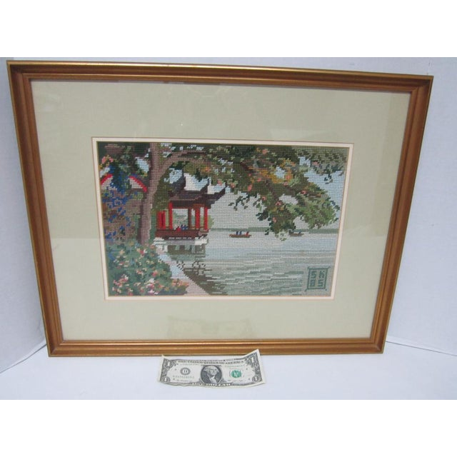 Oriental Asian Teahouse on the Lake Needlepoint - Image 10 of 11