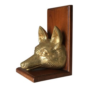 Vintage Fox Head Sculptural Brass & Wood Bookend