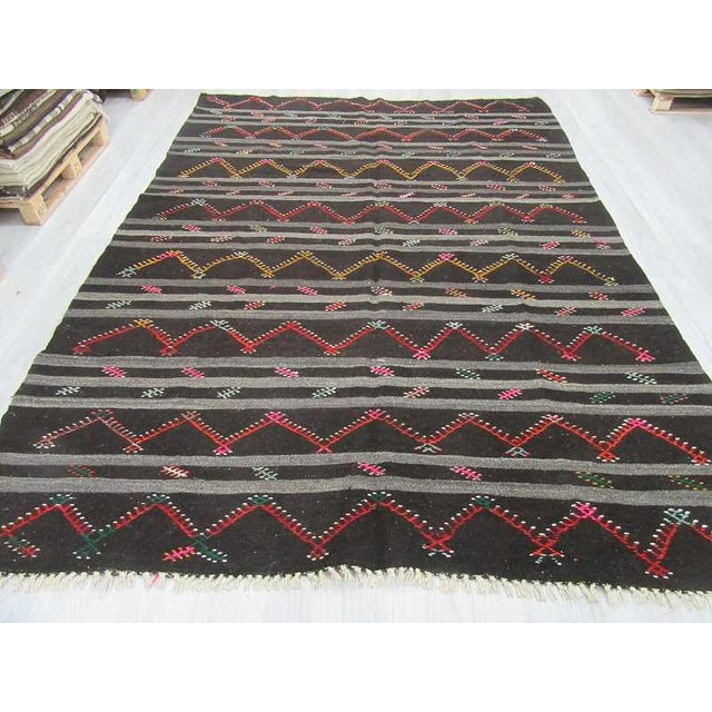 Vintage Embroidered Black & Grey Striped Goat Hair Kilim