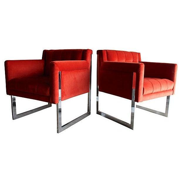 Mid-Century Milo Baughman Style Chairs - Pair - Image 8 of 10