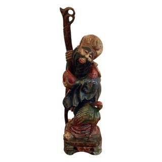 Vintage Chinese Wooden Scholar Statue