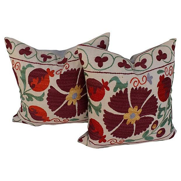 Suzani Embroidered Pillows - A Pair - Image 4 of 6