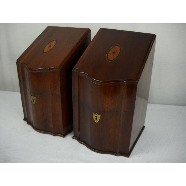 Image of Georgian-Style Inlaid Knife Boxes - A Pair