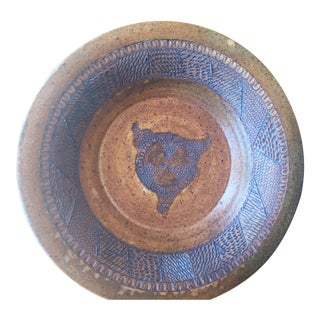 Mid-Century Modern Etched Ceramic Plate