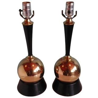 Vintage 1950s Brass Ball Table Lamps - Pair