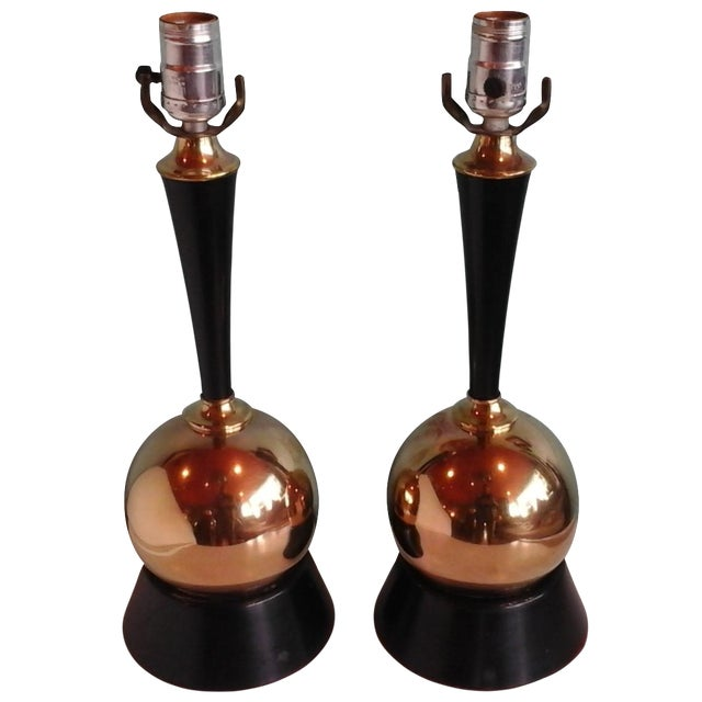 Vintage 1950s Brass Ball Table Lamps - Pair - Image 1 of 8