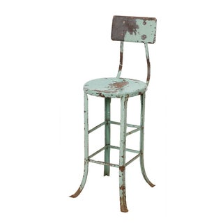 Vintage Industrial Rustic Green Bar Stool