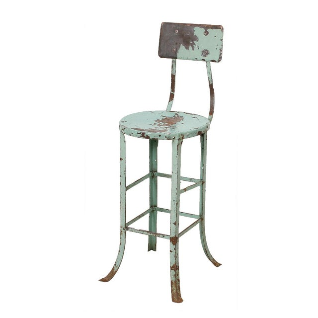Vintage Industrial Rustic Green Bar Stool Chairish