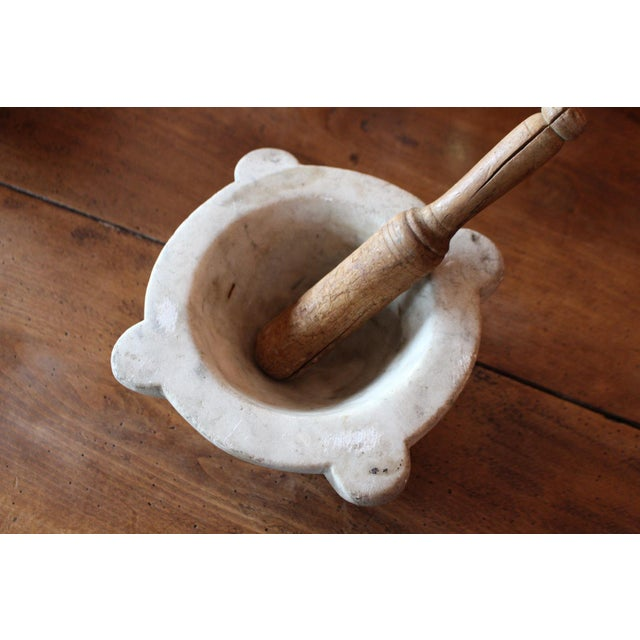 French Marble Mortar & Wooden Pestle - Image 2 of 6