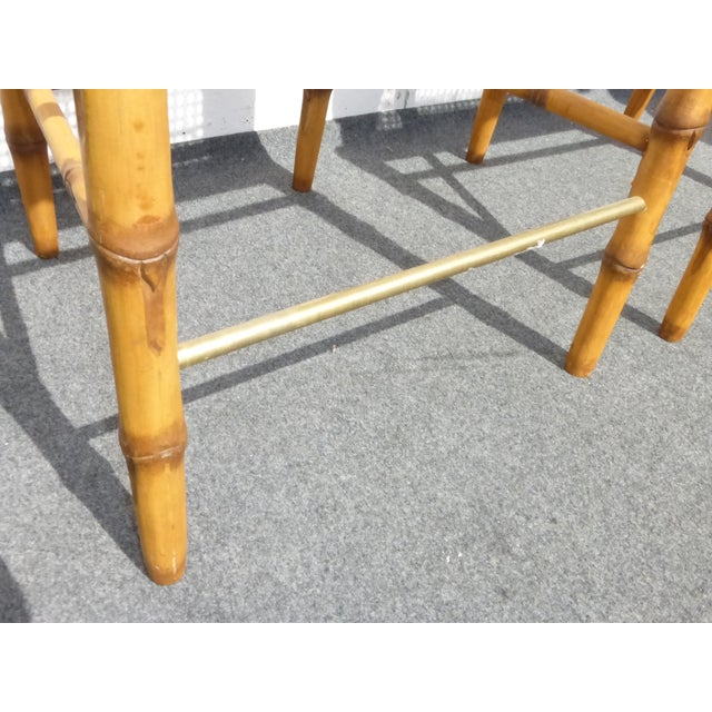 Image of Faux Bamboo Bahama Style Bar Stools - A Pair