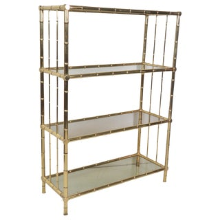 Brass Faux Bamboo & Smoked Glass Etagere