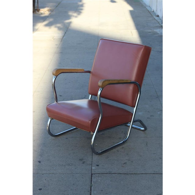 Postmodern Deco Style Chrome Lounge Chair in Mauve - Image 2 of 9