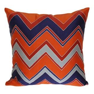 Blue and Orange Zig Zag Silk Pillow