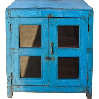 Cerulean Blue Glass Door Cabinet