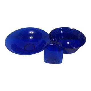 Cobalt Blue Glasses Bowls & Bottle - Set of 3