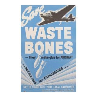 Original Vintage Canadian WWII Poster, Waste